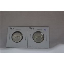Canada Twenty-five Cent Coins (2) 1967 - Silver
