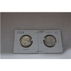 Canada Twenty-five Cent Coins (2) 1964 - Silver