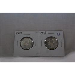 Canada Twenty-five Cent Coins (2) 1963 - Silver