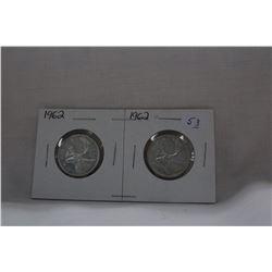 Canada Twenty-five Cent Coins (2) 1962 - Silver