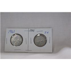 Canada Twenty-five Cent Coins (2) 1961 - Silver