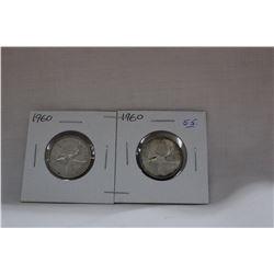 Canada Twenty-five Cent Coins (2) 1960 - Silver