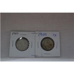 Canada Twenty-five Cent Coins (2) 1959 - Silver