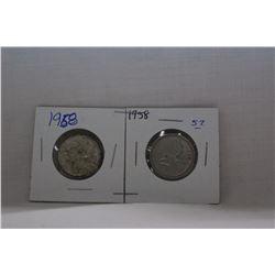 Canada Twenty-five Cent Coins (2) 1958 - Silver