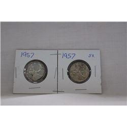 Canada Twenty-five Cent Coins (2) 1957 - Silver