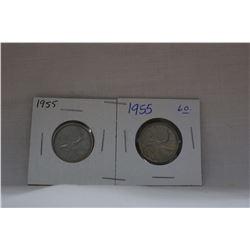 Canada Twenty-five Cent Coins (2) 1955 - Silver