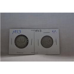 Canada Twenty-five Cent Coins (2) 1953 - Silver
