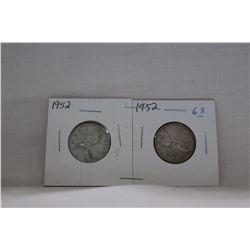 Canada Twenty-five Cent Coins (2) 1952 - Silver