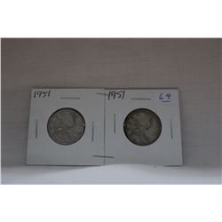 Canada Twenty-five Cent Coins (2) 1951 - Silver