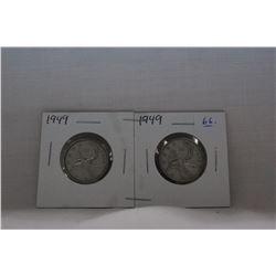 Canada Twenty-five Cent Coins (2) 1949 - Silver