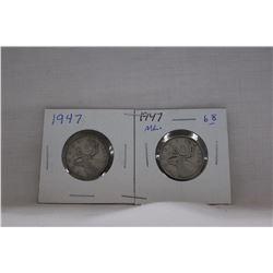 Canada Twenty-five Cent Coins (2) 1947 (1-M.L.) (1- No M.L.)