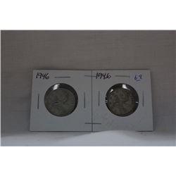 Canada Twenty-five Cent Coins (2) 1946 - Silver