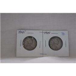 Canada Twenty-five Cent Coins (2) 1945 - Silver
