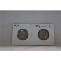 Canada Twenty-five Cent Coins (2) 1944 - silver