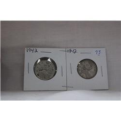 Canada Twenty-five Cent Coins (2) 1942 - Silver