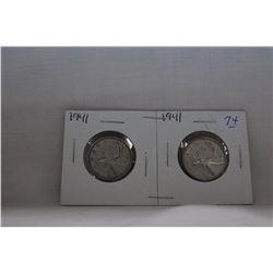 Canada Twenty-five Cent Coins (2) 1941 - Silver