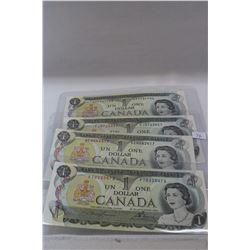 1973 Canada One Dollar Bills (4) 2 letter prefix - Unc.
