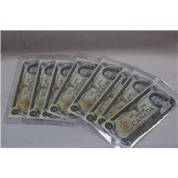 1973 Canada One Dollar Bills (8) 3 letter prefix - Unc.