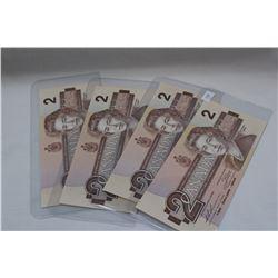 1986 Canada Two Dollar Bills (4) Unc.
