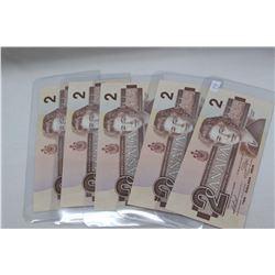1986 Canada Two Dollar Bills (5) Unc.