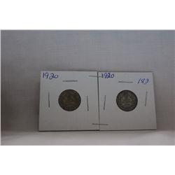 Canada Ten Cent Coin - (2) 1920 - Silver