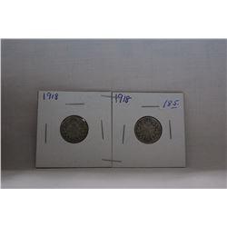 Canada Ten Cent Coin - (2) 1918 - Silver