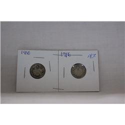 Canada Ten Cent Coin - (2) 1916 - Silver