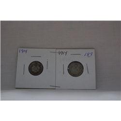 Canada Ten Cent Coin - (2) 1914 - Silver