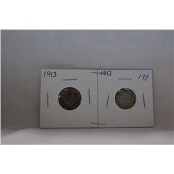Canada Ten Cent Coin - (2) 1913 - Silver