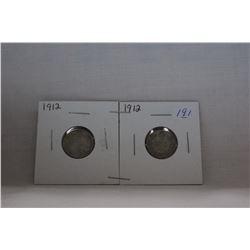 Canada Ten Cent Coin - (2) 1912 - Silver