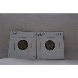 Canada Ten Cent Coin - (2) 1910 - Silver