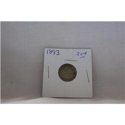 Canada Ten Cent Coin - (1) 1893 (Flat Top 3) - Silver