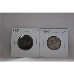 Canada Twenty-Five Cent Coin (2) 1939 - Silver