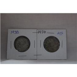 Canada Twenty-Five Cent Coin (2) 1938 - Silver