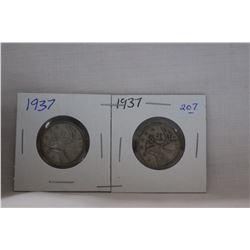 Canada Twenty-Five Cent Coin (2) 1937 - Silver