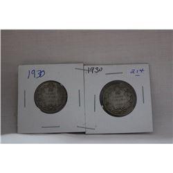 Canada Twenty-Five Cent Coin (2) 1930 - Silver