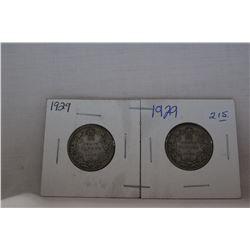 Canada Twenty-Five Cent Coin (2) 1929 - Silver