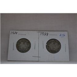 Canada Twenty-Five Cent Coin (2) 1928 - Silver
