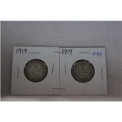 Canada Twenty-Five Cent Coin (2) 1919 - Silver