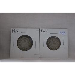 Canada Twenty-Five Cent Coin (2) 1917 - Silver