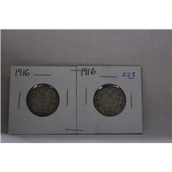 Canada Twenty-Five Cent Coin (2) 1916 - Silver