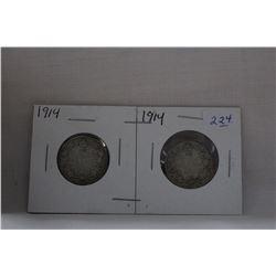 Canada Twenty-Five Cent Coin (2) 1914 - Silver