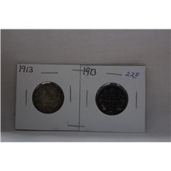 Canada Twenty-Five Cent Coin (2) 1913 - Silver