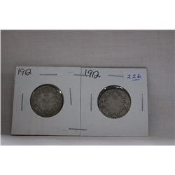 Canada Twenty-Five Cent Coin (2) 1912 - Silver