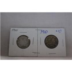 Canada Twenty-Five Cent Coin (2) 1910 - Silver