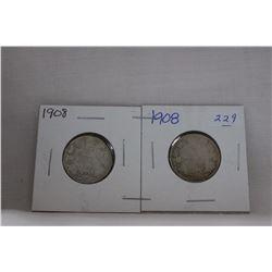 Canada Twenty-Five Cent Coin (2) 1908 - Silver