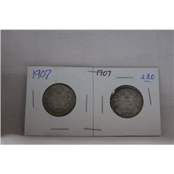 Canada Twenty-Five Cent Coin (2) 1907 - Silver