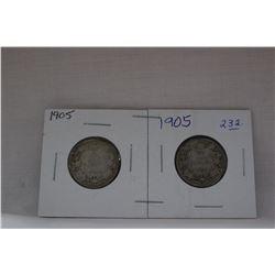 Canada Twenty-Five Cent Coin (2) 1905 - Silver
