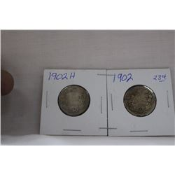 Canada Twenty-Five Cent Coin (2) 1902H, 1902 - Silver