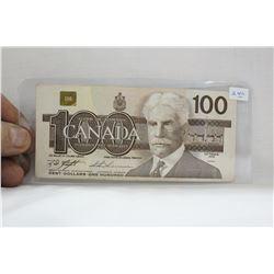 Canada One Hundred Dollar Bill - 1988